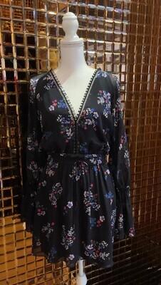 Nicholas, Black/Floral Print Lace Trim L/Slv Dress, Size 8