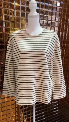 Lee Mathews, Cream/Navy Stripe Cotton Knit L/Slv Jumper, Size S