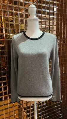 Iris & Ink, Grey/Black Trim Frill Cuff Wool/Cashmere Blend Sweater, Size S