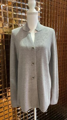 III.I.IV.I Melbourne, Grey Textured Lightweight Wool Button Cardigan, Size 48/M
