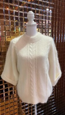 Lover, Cream Angora Blend Cable Knot Wide 3/4 Slv Jumper, Size M