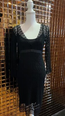 Collette Dinnigan, Black Fine Giupure Lace Deep V Grosgrain Ribbon Tie 3/4 Slv Dress W/Slip, Size S