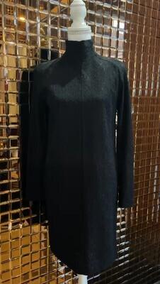 Scanlan Theodore, Black High Neck L/Slv Lace Dress W/Silk Slip, Size 8