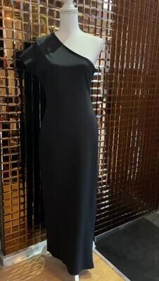 Scanlan Theodore, Grey Side Zip Asymmetrical One Cap Slv Maxi Viscose Knit Dress, Size 12