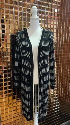 Sabatini, Black/Cream Rib Stripe Wool Long Cardigan , Size L