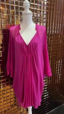 Diane Von Furstenberg, Pink Pleat Drape Silk Dress, Size US8