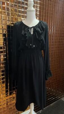 Steele, Black V Frill Front D/String Waist Midi L/Slv Dress, Size M