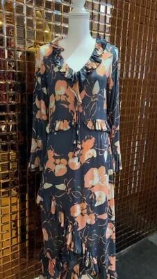 Lilya, Navy/Apricot Floral Print Frill Asymmetrical Maxi L/Slv Dress, Size M