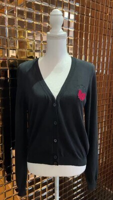 Love Moschino, Black Red Bow Embroidery L/Slv Cardigan, Size M
