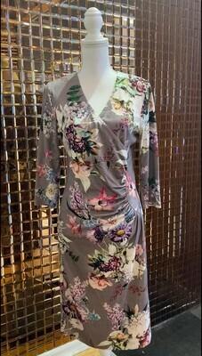 Basler, Taupe/Floral Wrap Front Side Panel Ruched 3/4 Slv Dress, Size 38