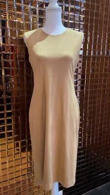 Carla Zampatti, Beige Suedette S/Less Dress, Size 10