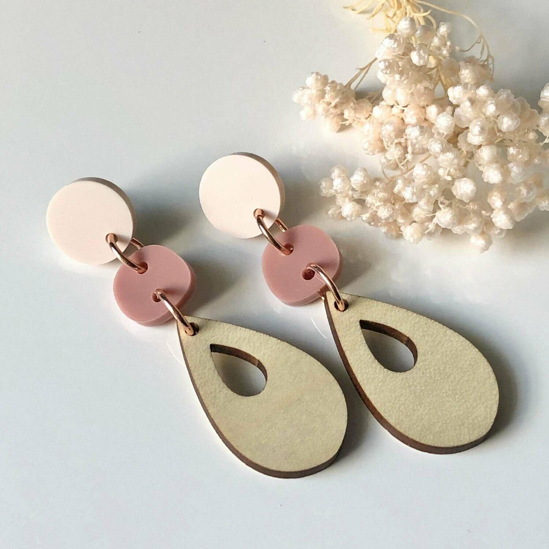 Wood dangle earrings | Wood teardrop earrings | Laser cut earrings