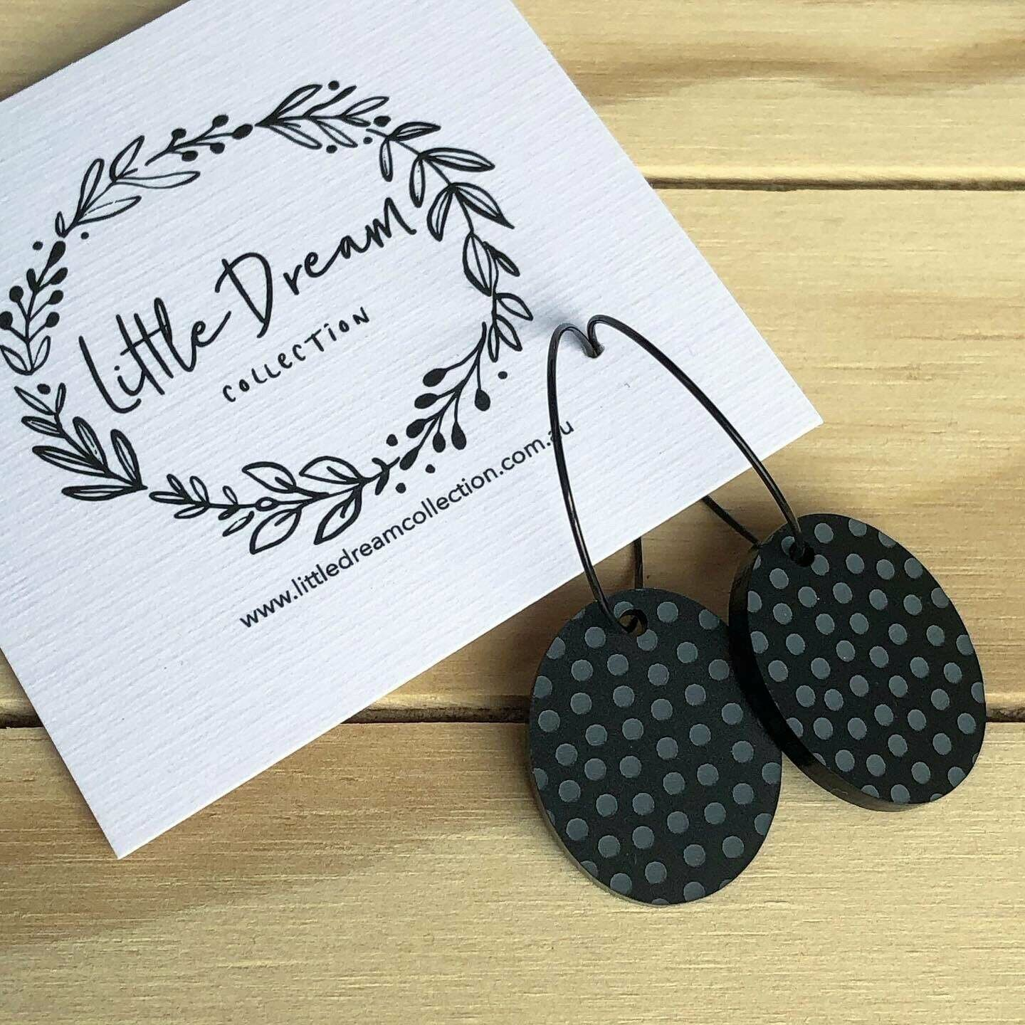 Polka dot hoops | hoop earrings | black acrylic earrings | mirror acrylic earrings | Australian made | Polka Dot Earrings