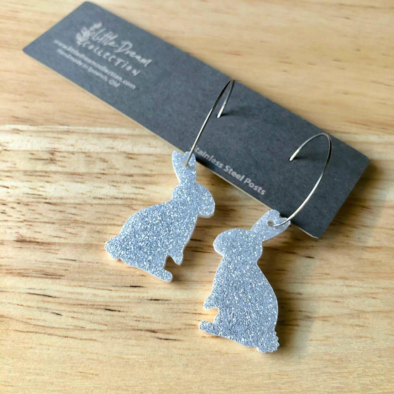 Acrylic Easter Earrings | Easter Bunny Earrings | Glitter Easter Earrings | Easter Earrings