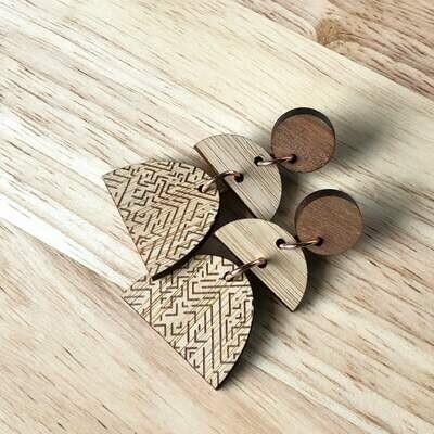 Bamboo earrings   Wooden earrings   Timber earrings   Laser engraved earrings   Eco gift for her   Australian made