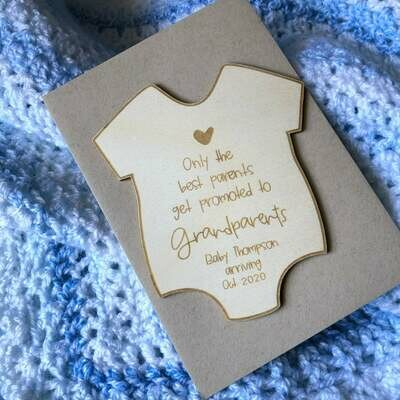 Timber Expecting Card | New Grandparents Card | Wooden Announcement Card | Personalised Card | Custom wooden card | Gift Tag | Onsie shape