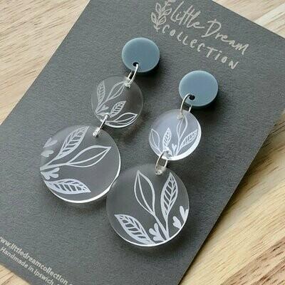 Circle Dangle Earrings | Acrylic Laser Cut Earrings | Botanical Earrings | Leaf Earrings | Clear Acrylic | Earrings Australia