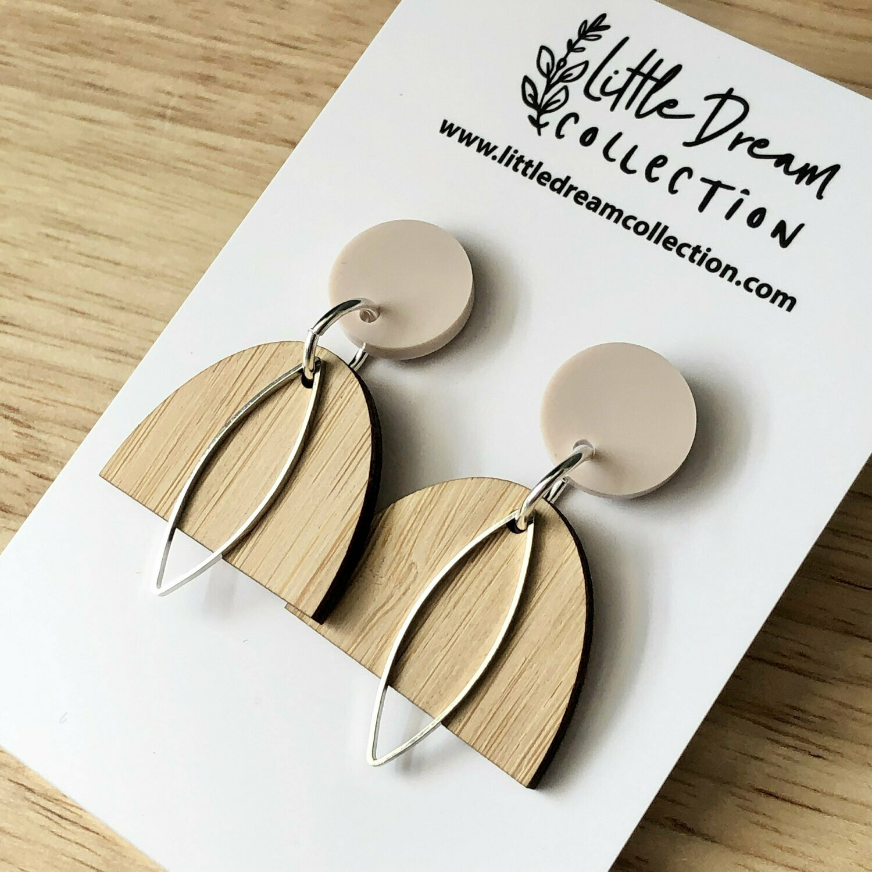 Bamboo dome shape earrings | Timber earrings | Wooden dangle earrings | Australian made earrings