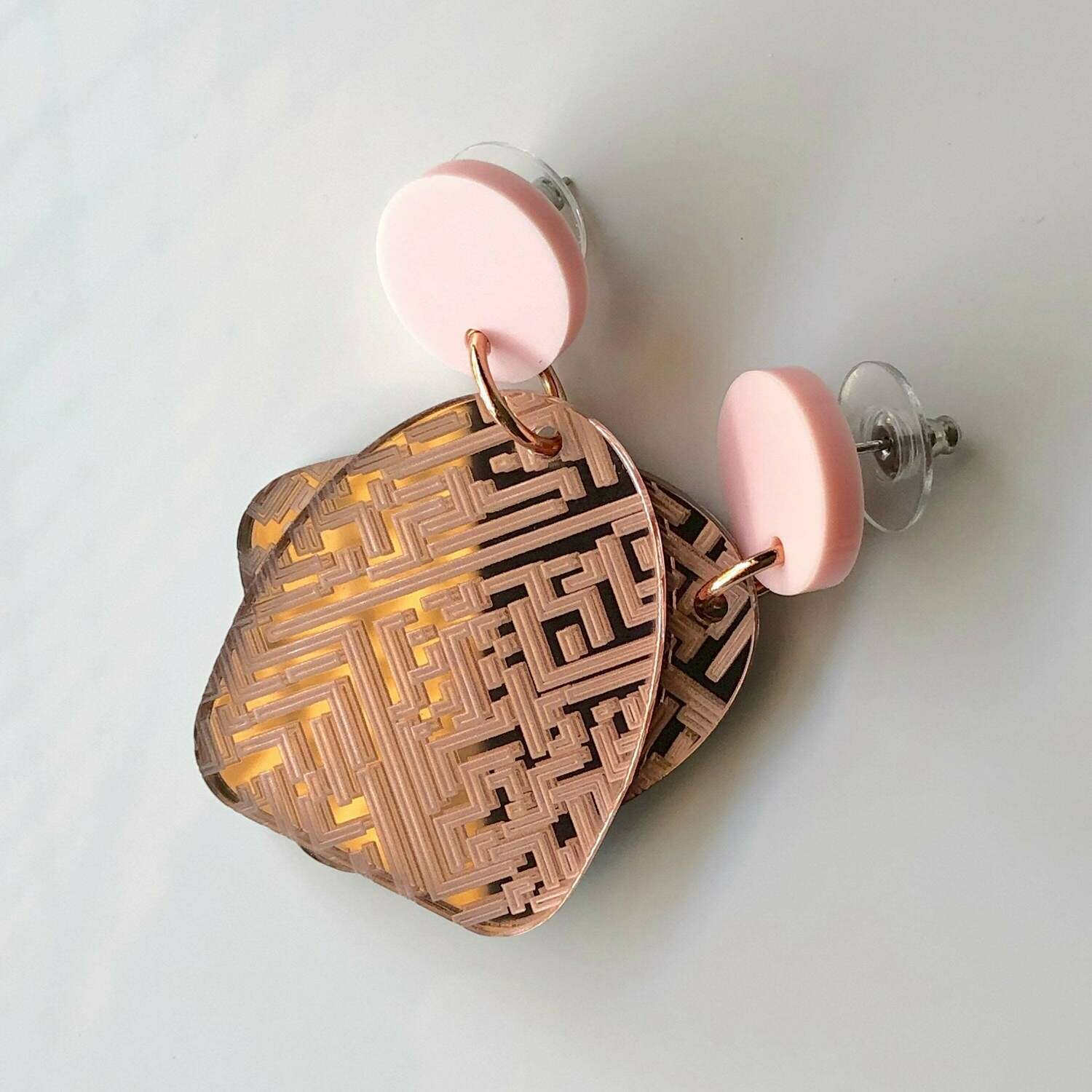 Luxe Laser Engraved Rose Gold Acrylic Dangle Earrings