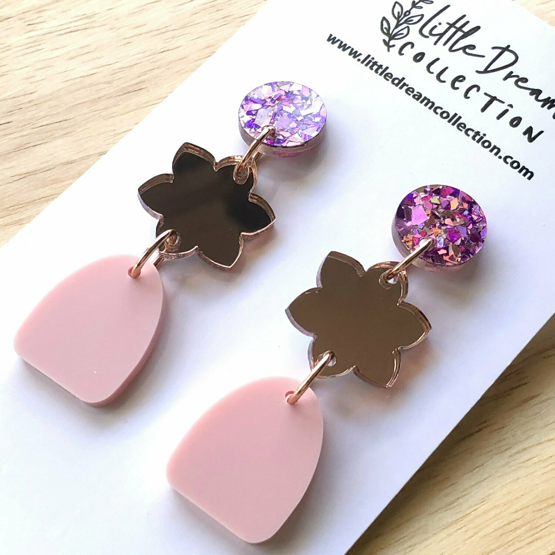 Acrylic Earrings | Acrylic Dangles | Rose Gold Mirror Acrylic | Laser Cut Earrings | Glitter Acrylic