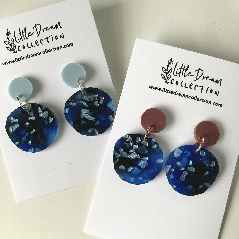 Blue acrylic dangle earrings | Foil earrings | Blue circle earrings |