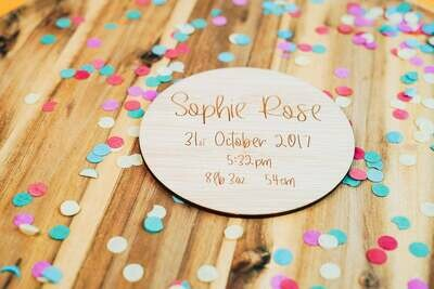 Birth Announcement | Name Plaque | Birth Details Disc | Name Disc | Timber Name Disc | Timber Name Announcement | Name Sign | Birth Sign
