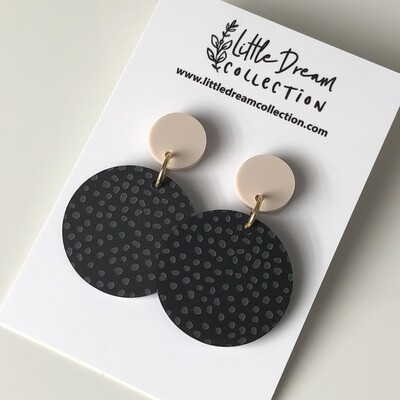 Spotty Black Acrylic Dangle Earrings