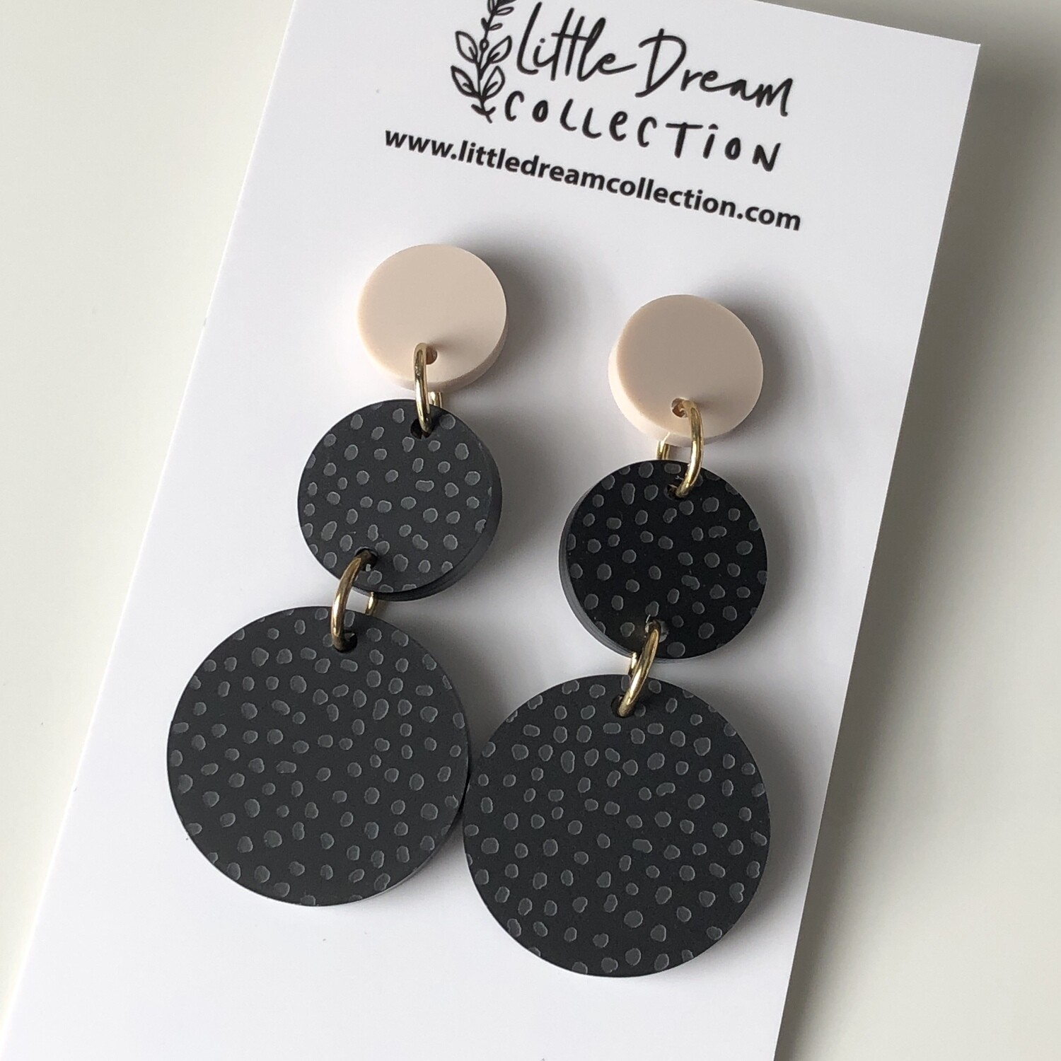Black acrylic 3 piece Dangle Earring