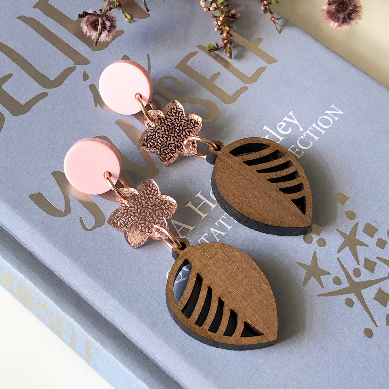 Botanical laser cut earrings | Flower earrings | Wood leaf earrings | Acrylic dangle earrings | Australian made
