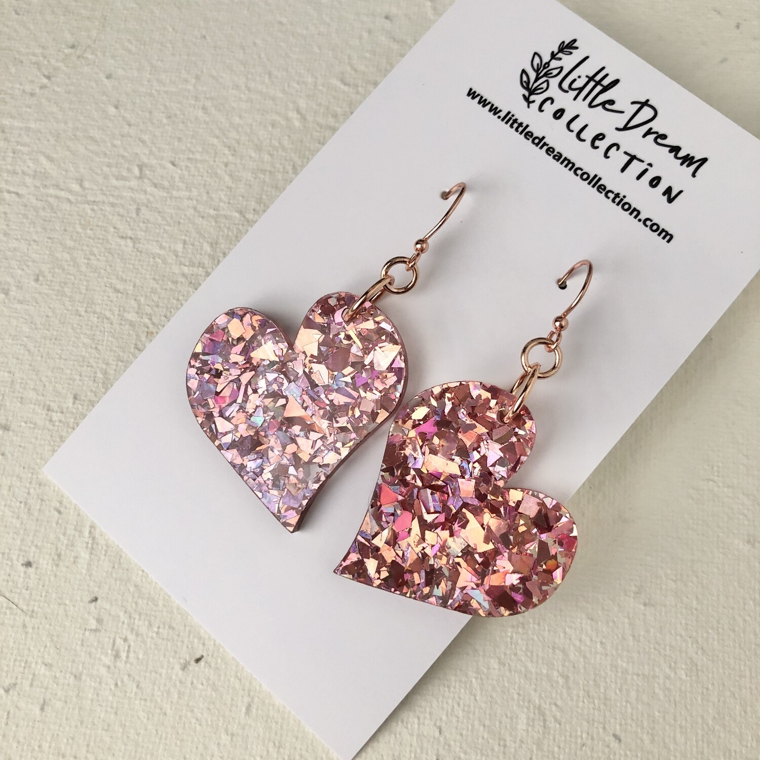 Chunky Glitter Rose Pink Hook Earrings