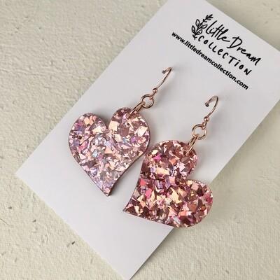 Chunky Glitter Rose Pink Hook Earrings