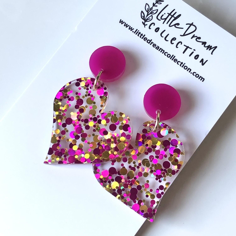 Confetti glitter heart earrings