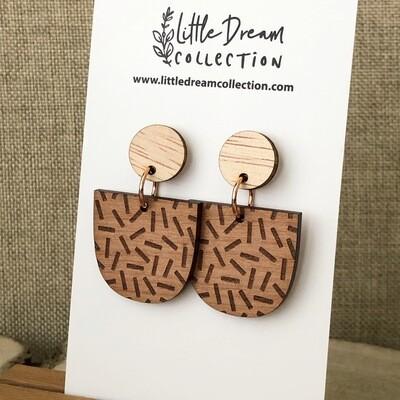 Sprinkle earrings | wooden earrings | laser engraved wooden earrings | Laser cut earrings | Arch earrings | Laser cut statement earrings