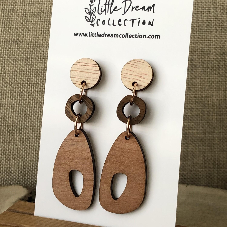 3 tier wooden earrings | Laser cut earrings | Unique wooden earrings | Wooden dangle earrings