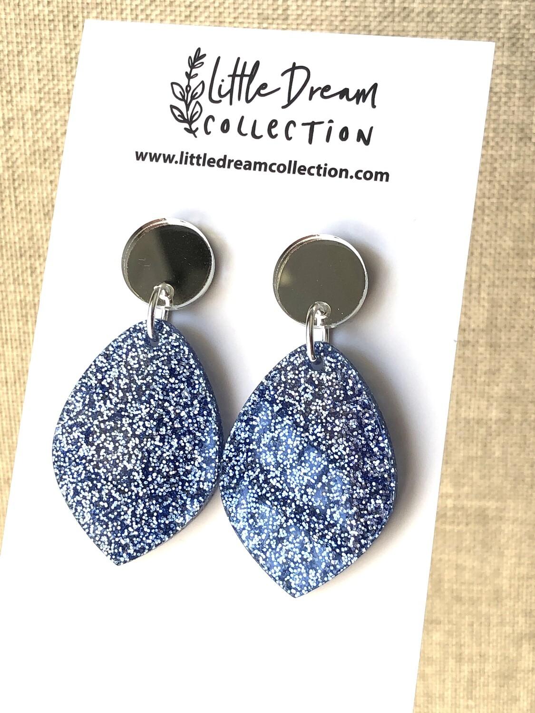 Blue Glitter Acrylic Earrings