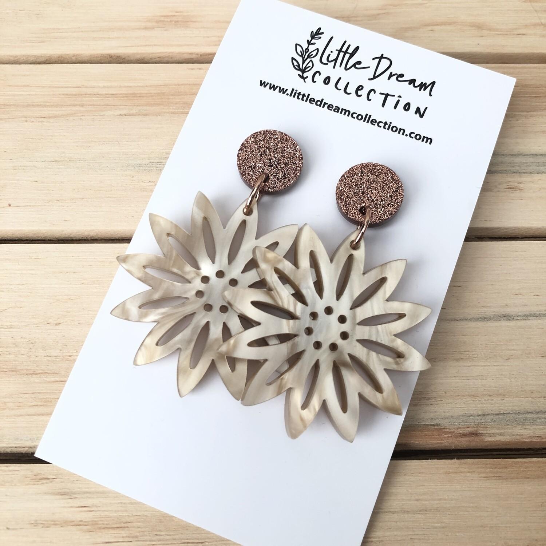 Cream Flower Acrylic Earrings