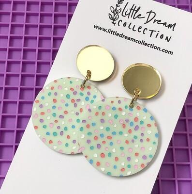 Spotty Pastel Acrylic Dangle Earrings