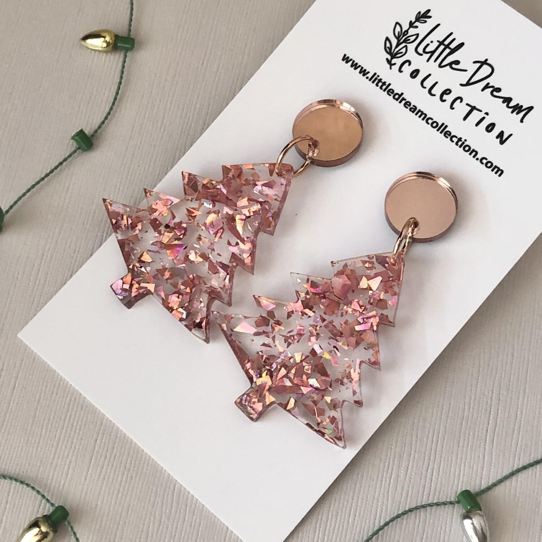 Christmas tree earrings - Rose gold shard glitter