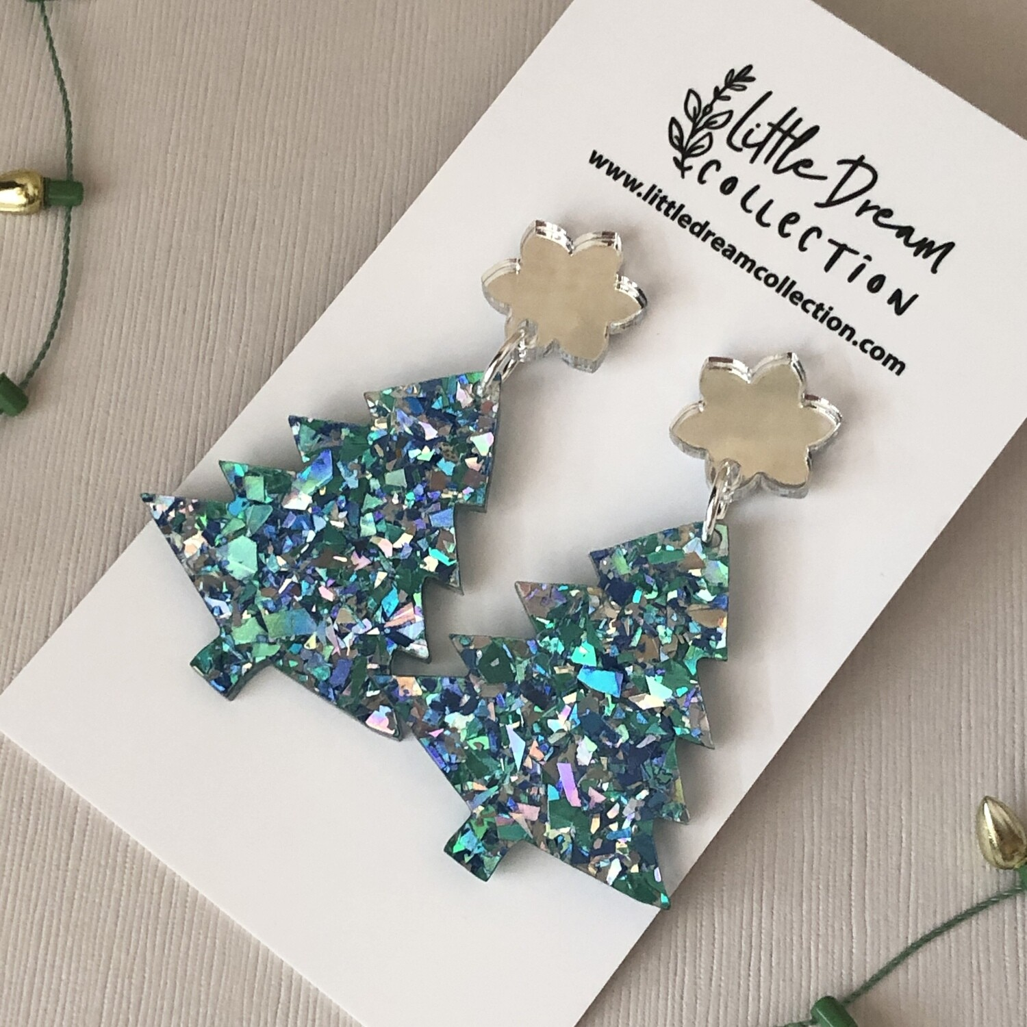 Christmas tree earrings - Blue and silver shard glitter