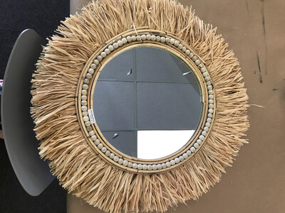 Tiki Rattan Mirror With Grass