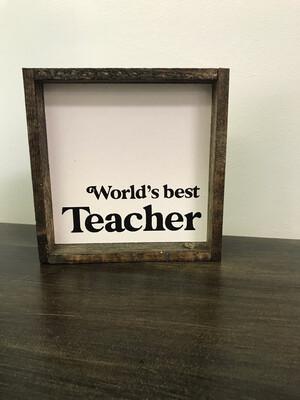 Best Teacher Wood Sign