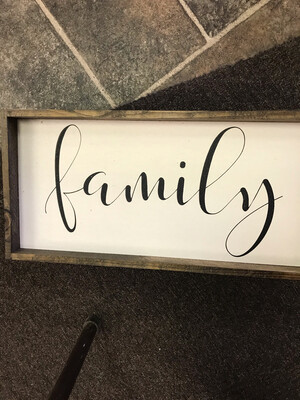 Family Wood Sign White