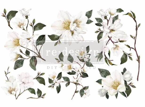 White Magnolia Decor Transfers