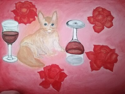 The cat and the wineglass