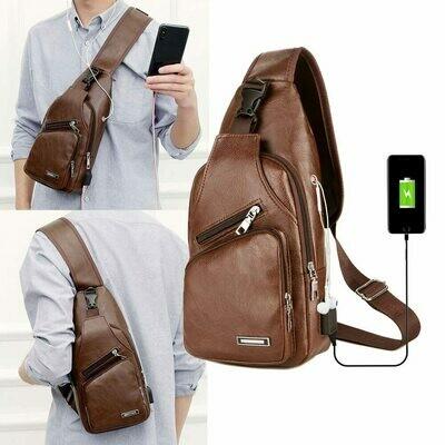 Men's USB Charging Shoulder Bag