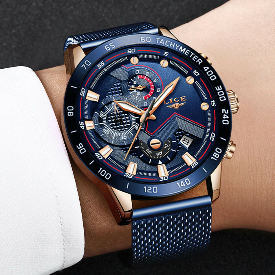 LIGE Blue Mesh Belt Fashion Quartz Watch
