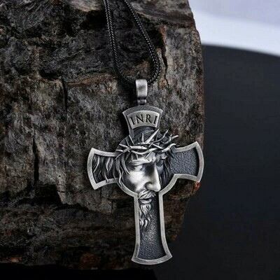 Vintage Jesus Cross Necklace