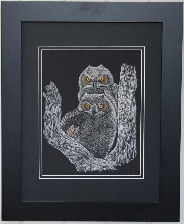 """""""Fledgling Owls"""" by Ena Sroat"""