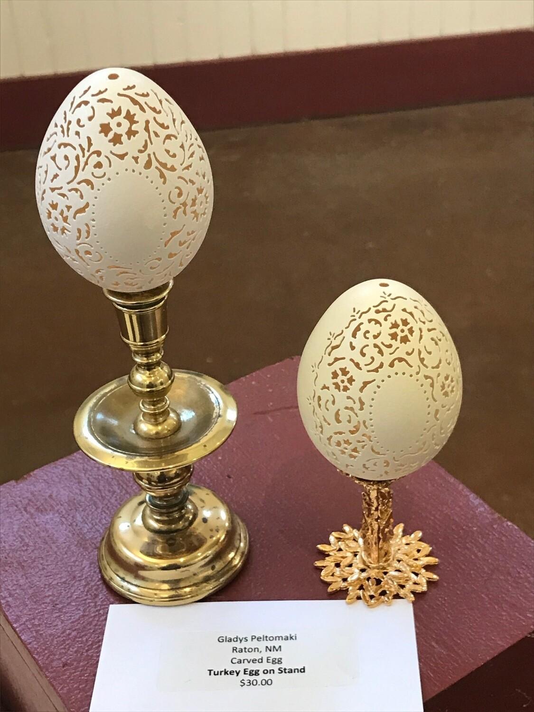 Carved Turkey Egg by Gladys Peltomaki