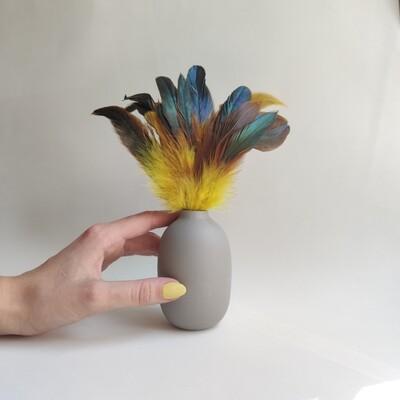 Перья петуха желтые двухцветные 15 - 20 см. 20 шт.